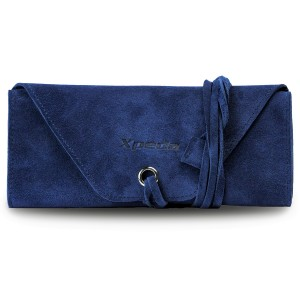 Genuine Suede Leather Watch Roll - Blue